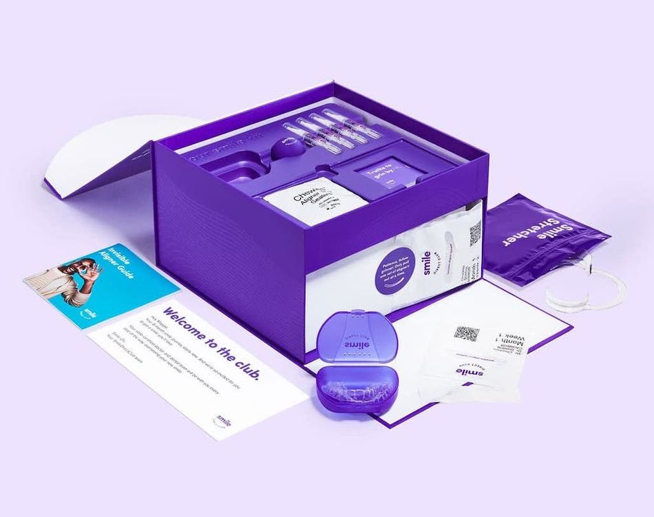 SmileDirectClub's aligners arrive in a brightly hued box it describes as