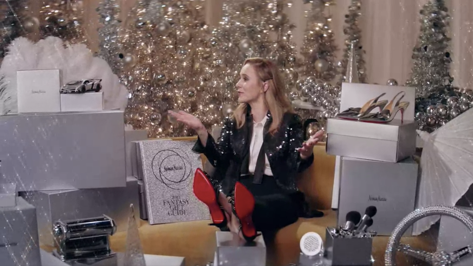 The promo video for the Neiman Marcus 2019 Fantasy Gifts is hosted byRachel Brosnahan of