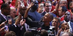 Obama showed up for Game 2 of the NBA Finals in a sharp leather jacket that earned rave reviews